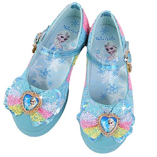 AIYIMEI Disfraz Princesa Zapatos Elsa Zapatos de Lentejuelas Antideslizante Niñas Zapatos Reina de Hielo Fiesta Zapatilla de Ballet Cosplay Danza Boda Carnaval Cumpleaños Regalo 3-11 Años