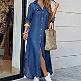 Vestido de camisa de manga larga para mujer Otoño Impreso Vestidos largos Cuello de rechazo suelto Sundress Vestidos de fiesta (Color : Denim blue, Size : 2X-Large)