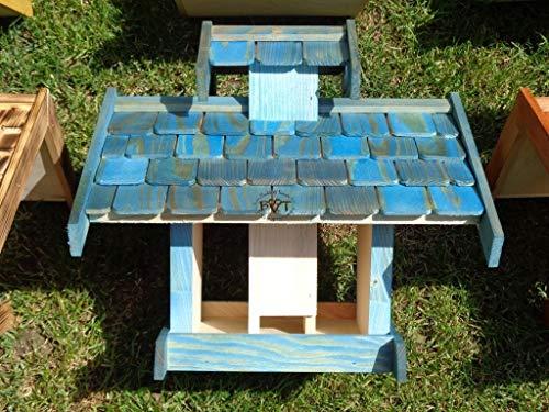 vogelhaus mit ständer, BEL-X-VOVIL4-MS-blau002 Robustes, stabiles PREMIUM Vogelhaus KOMPLETT mit Ständer wetterfest lasiert, FUTTERHAUS für Vögel, WINTERFEST – MIT FUTTERSCHACHT Futtervorrat, Vogelfutter-Station Farbe blau SKY BLUE himmelblau hellblau mittelblau dunkelblau/natur, MIT TIEFEM WETTERSCHUTZ-DACH für trockenes Futter, Schreinerarbeit aus Vollholz - 7