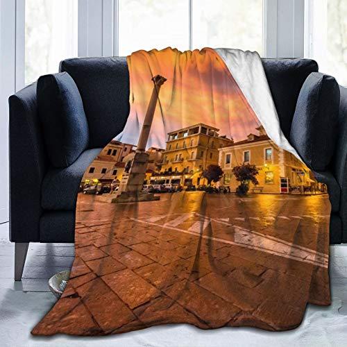 Fashion boutique clothing Manta de forro polar de 127 x 152 cm, Italia La Maddalena Evening Home franela suave y cálida manta de felpa para cama/sofá/oficina/camping