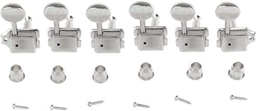 Musiclily Pro Vintage Guitar Tuners Split Shaft 6 in- Line Machine Heads Tuning Pegs Keys Set for Squier Classic Vibe Fender Strat/Tele Style, Nickel