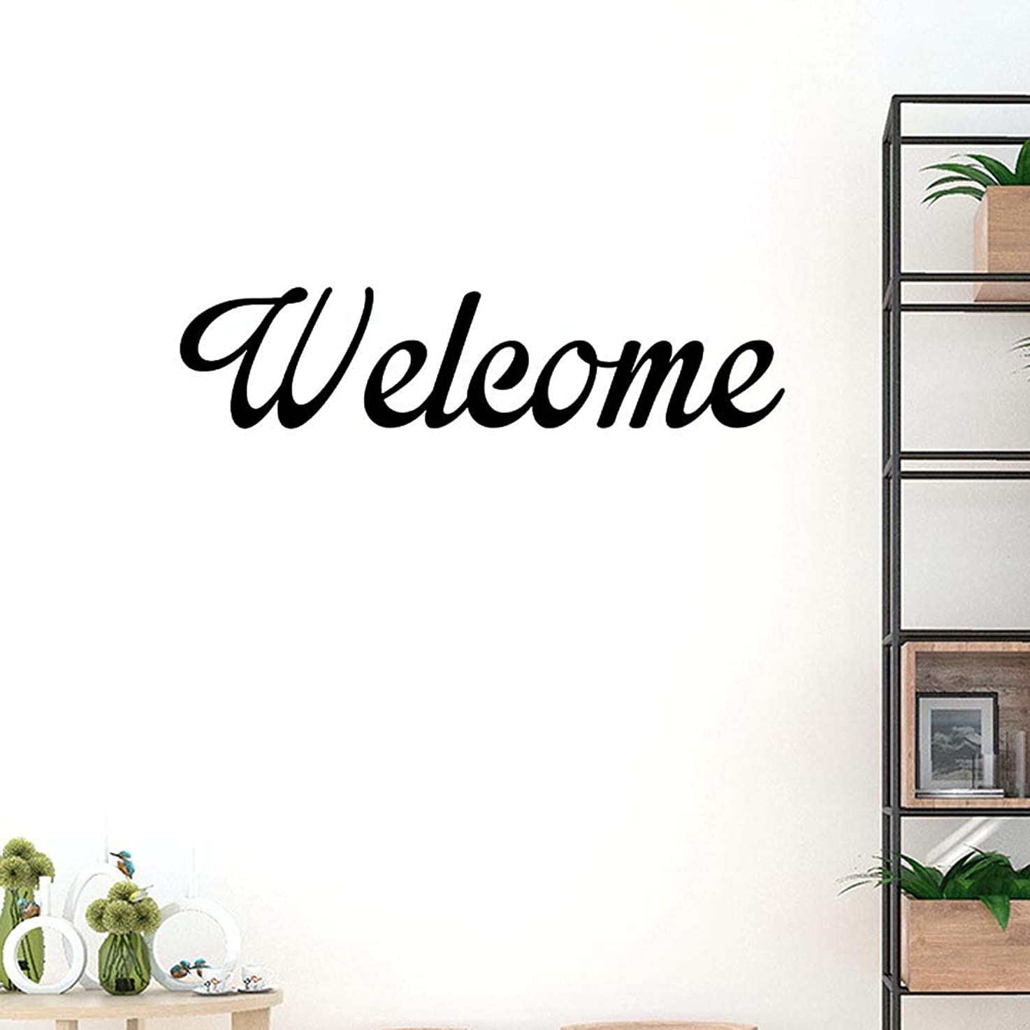 BIBITIME Living Room Front Door Welcome Vinyl Sign Quotes Saying Lettering Wall Decals for Hotel Shop Store Restaurant Coffe Bar Window PVC Sticker (Black, 4.72