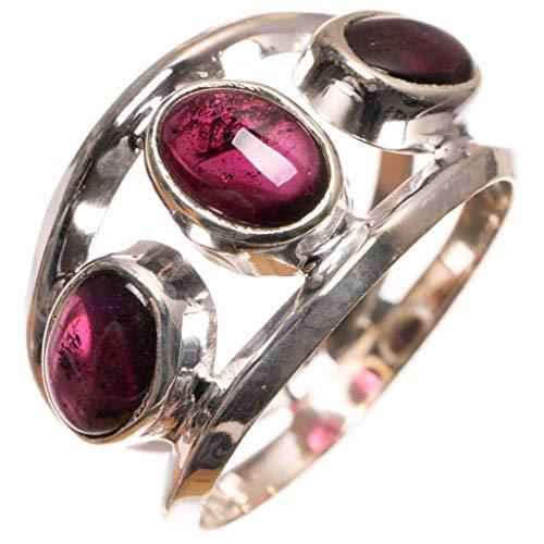 stargems (TM) Natural amatista anillo de plata de ley 925hecho a mano en India, nosotros tamaño M 1/2S2952