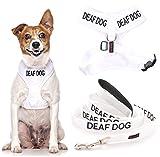 Sordos perros (perro tiene limitado/sin audición), color blanco, codificado en color blanco, con anillo en D acolchado e impermeable, arnés para perro S M y 1,2 m o 1,8 m, juego de correa acolchada de neopreno evita accidentes por advertencia de otros de su perro en adelantado (S y 1,8 m)
