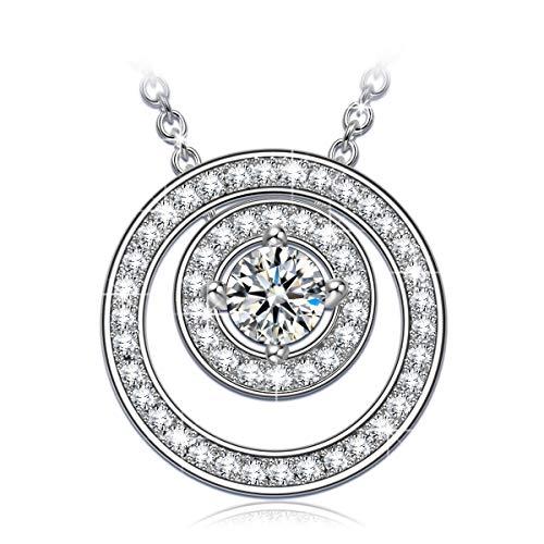 ANGEL NINA Doppelkreise 925er Sterling Silber Damen Halskette 5A Zirkonia Geschenke zum Weihnachtsgeschenke Geburtstag Jubiläum Hochzeit Mutter Frau Tochter Mädchen Freundin Damen ihr
