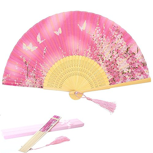 Weisu Chinese/Japanese Handmade Silk Folding Hand Fan, Vintage Retro Style Bamboo Wood Handheld Fan for Wedding Dancing Home Wall Decor with Box- Pink