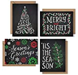 Christmas Cards Boxed Set: Chalk Art Holiday Card Pack (Premium Christmas Card Box Set + Kraft Envelopes) - 4 Unique Seasonal Chalkboard Designs - Proudly Made in the USA By Palmer Street Press (12)