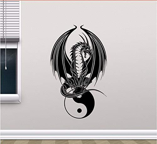 Zxfcczxf Dragon Yin Yang Sticker Chambre Yoga Art Affiche Murale Maison Décoration De La Chambre R Amovible Vinyle Dragon Symbole Sticker Mural 42 * 70 Cm