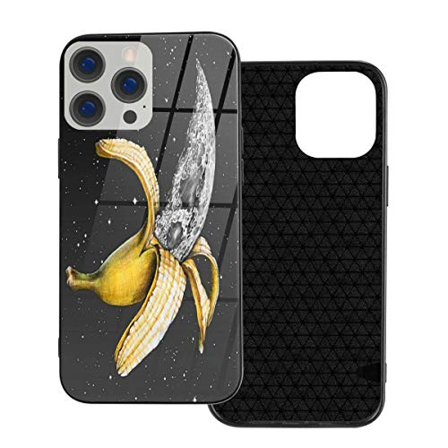 RTBB Iphone 12 Glass Case 3D Banana Moon Starry Sky Flexible Soft Tpu Protection Back Toughened Glass Protective Shockproof Cover Cases For Iphone 12/12 Pro/12 Mini/12 Pro Max