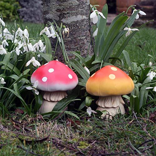 Funghi Fungi, set di 2 funghi con bastoni di fissaggio, ideali per giardini fatati, folletti, elfi e...