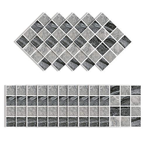 Elinala Fliesenaufkleber für Küche, Klebefliesen, 30 PCS (10 x 10CM) Langlebige wasserdichte Matte Selbstklebende Keramikfliesen-Wandaufkleber für Badezimmer, Küche, Wohnzimmer und Zimmer