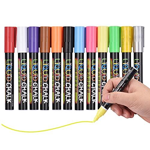 Eastdall Canetas De Apagar A Seco,Marcadores de giz líquido 12 cores vibrantes com ponta reversível de 3 mm, apagáveis, à base de água, marcadores de giz Canetas não tóxicas de secagem rápida