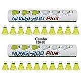 Best Badminton Shuttlecocks - NONGI Plus Plastic Badminton Shuttlecock Pack of 20(Yellow) Review