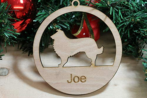 MyGiftTrees Personalised Wooden Pets Dog Shape Christmas Decoration Ornament Xmas UK MADE (COLLIE)