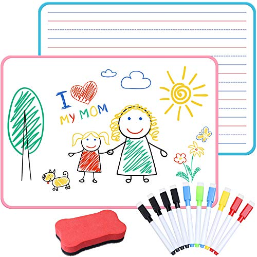 Dry Erase Board for Kids Portable Dry Erase Lap Board with Lines Double Sided, Personal Small White Board for Students Learning Teaching Home Studying, 2 Pack(9 X12 in)