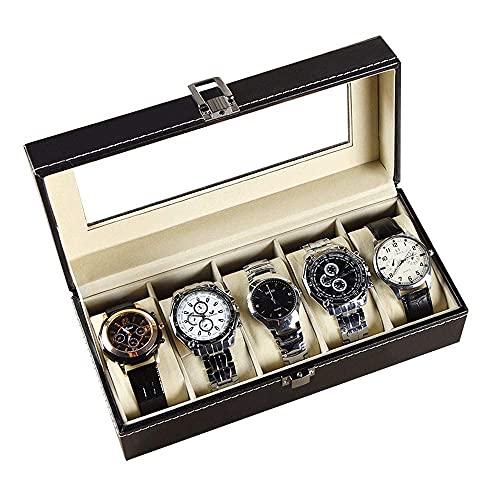 WOZUIMEI Caja de Almacenamiento de Reloj de Joyería Organizador de Caja de Reloj de Cuero 5 para Hombre con Organizador de Reloj de Exhibición de Joyería con Cerradura