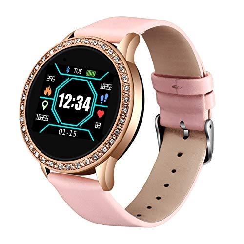 YDL Nuevo Reloj Inteligente Mujer Presión Arterial Ritmo Cardíaco Monitor Banda Inteligente Fitness Rastreador Deportivo Reloj Smartwatch Reloj Inteligente (Color : Pink)