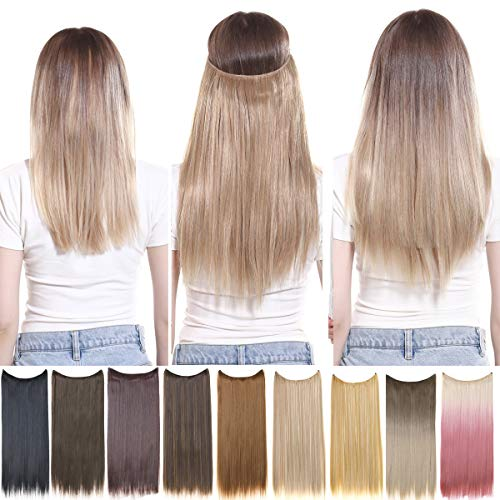 Halo Hair Extensions Straight Short Synthetic Hairpieces Light Golden Brown 16 Inch 3.6 Oz Secret Wire Headband for Women Heat Resistant Fiber No Clip SARLA(M02-16&12#)