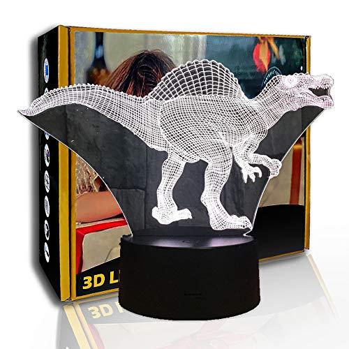 JINYI Dinosaurio de luz nocturna 3D, lámpara de ilusión LED, lámpara de sueño para bebés, C- Touch Crack Blanco (7 colores), 7 cambio de color, Regalo para amigo