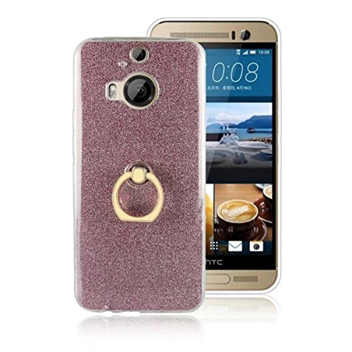 """HTC ONE M9+ Case,M9 PLUS Case,Gift_Source [Ring Holder Kickstand] Slim Flexible Bling Glitter Sparkle TPU Rubber Gel Case Clear Soft Bumper Cover for HTC ONE M9+/M9 PLUS (5.2"""")(Not for M9 5.0"""") [Pink]"""