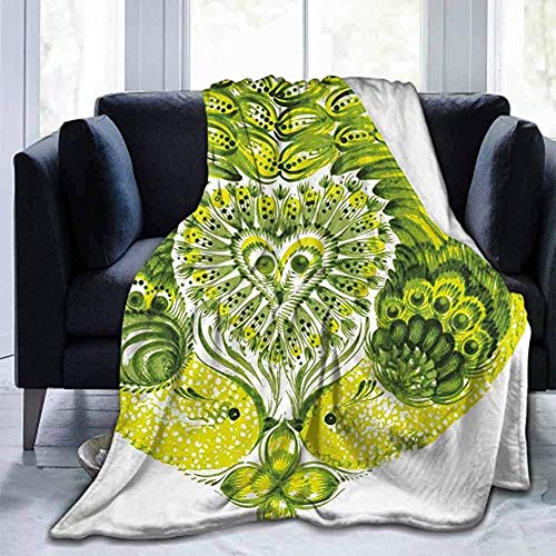 Amanda Walter Decke Boho herzförmige Pfauenfedern Paradies Tier mit Klee Blume Zen Print Limette und grün für Bett Couch Sofa