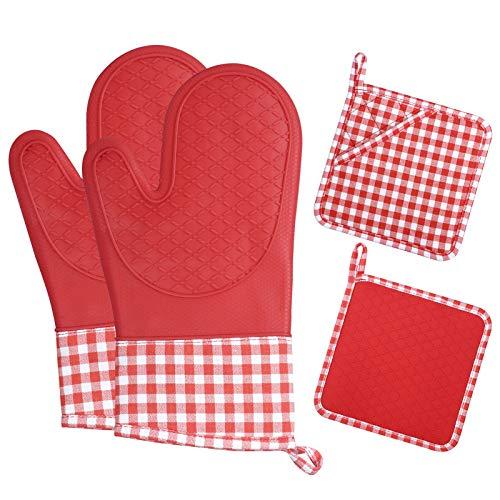 ZORR Set di guanti da forno e presine, in silicone, resistenti al calore per cucinare, cuocere e grigliare, rosso, 33 x 18 cm
