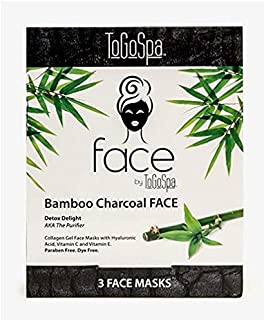 Bamboo Charcoal FACE Anti-Aging Mask by ToGoSpa - Collagen Gel Masks with Hyaluronic Acid, Vitamins C & E Will Moisturize, Hydrate, Tighten, Lift , Firm, Brighten & Smooth your FACE – 3 Masks