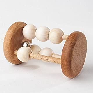 Wooden Rattle with Bell, Rolling Rattle