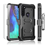 Njjex Motorola Moto G Power Case 2020, Moto G Stylus Case with Tempered Glass Screen Protector [2 Pack], [Nbeck] Shockproof Heavy Duty Locking Swivel Holster Belt Clip Kickstand Hard Cover [Grey]