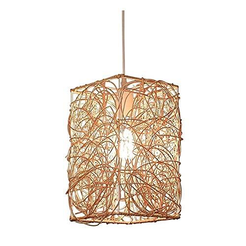 Lámpara colgante rectangular nórdica retro DIY hecha a mano de mimbre linterna de ratán Retro industrial lámpara colgante de techo natural, sala de estar, comedor E27 Lámpara colgante en espiral, luz