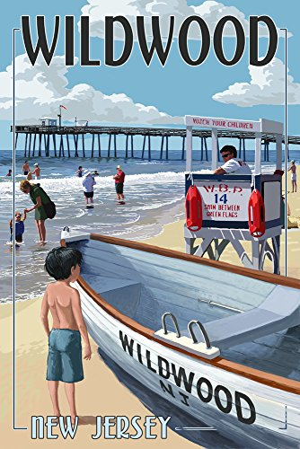 Wildwood, New Jersey – Lifeguard support 9 x 12 Art Print multicolore