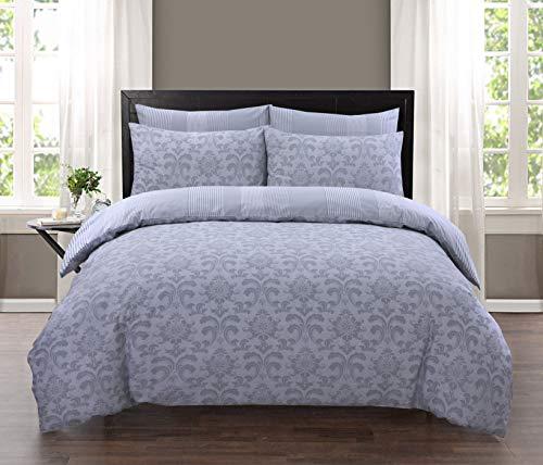 EHD Istambul Silver Damask Pattern 100% Cotton Luxurious Duvet Cover Sets Quilt Cover Sets Reversible Bedding Sets LZ (Double Duvet Set)