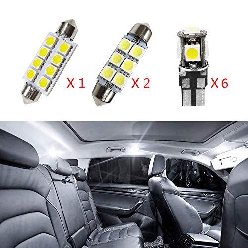Per Golf GTI Super luminoso Sorgente luci interne a LED Lampada per auto abitacolo Lampadine di ricambio bianca Confezione da 9
