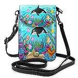 AOOEDM Sea Fish Crossbody - Monedero para teléfono celular para mujeres y hombres, a todo color, peces de aguas profundas, hermoso coral, acuario, animal, dibujos animados, vida marina, piel sintéti