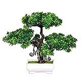flikool pino albero artificiale con pot piante artificiali fiore artificiale con vaso simulazione finto faux turf bonsai artificiale ornamenti decorazioni per la casa ufficio tavolo scrivania - 2