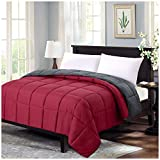 Homelike Moment Reversible Lightweight Comforter Queen Red All Season Down Alternative Bed Comforter Summer Duvet Insert Quilted Comforters Full / Queen Size Burgundy Red / Dark Grey