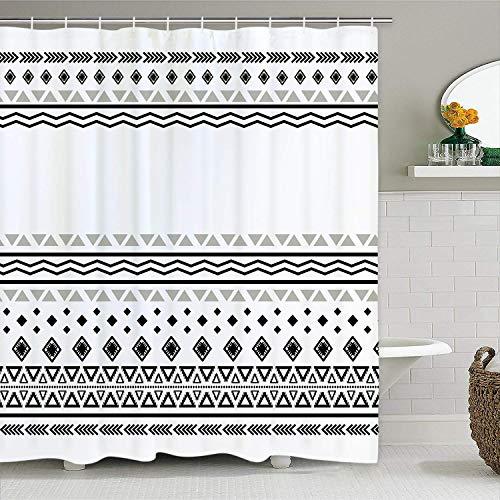Pknoclan White Boho Shower Curtain, Black White Shower Curtain with 12 Hooks, African Triangle Stripes Geometric Shower Curtains Boho Bathroom Decor, Tribal Bohemian Shower Curtain for Bathroom