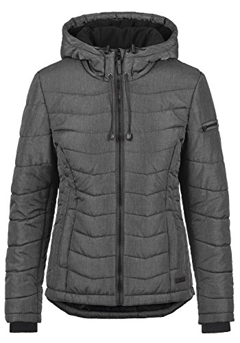 Blend SHE Nyla Damen Übergangsjacke Steppjacke leichte Jacke gefüttert mit Kapuze, Größe:L, Farbe:Dark Grey Melange (20044)