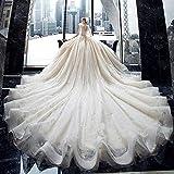 SWEETQT Robe de mariée souper Magnifique Cristal Brillant Dentelle Robe de Bal col en v Arc épaule Princesse Robes de mariée Longueur du Train 100 CM-150 CM