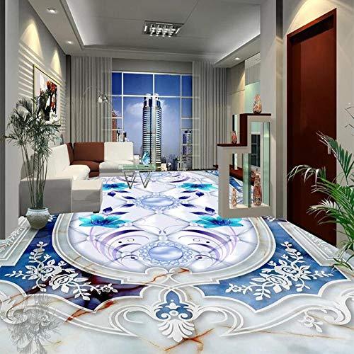 Personalizado 3d pegatina suelo Estilo europeo pintura de suelo de mármol azul PVC autoadhesivo impermeable Mural 3D azulejos papel tapiz para suelo cocina baño pegatinas-150 * 105cm