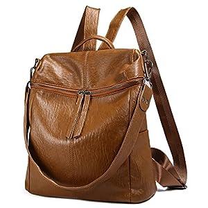 Zaino moda, JOSEKO zaino in pelle con borsa a spalla Daypack rivetto in pelle per donna (marrone)