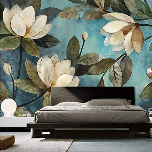 Papel pintado mural personalizado pintura europea flor retro sala de estar TV fondo papel tapiz entrada dormitorio seda revestimiento de paredes 450X300cm