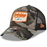 New Era Men's Camo/Black Miami Dolphins A-Frame Patch 9FORTY Trucker Snapback Hat