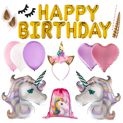 Unicorn Party Supplies Set and Decorations | Birthday Party Banner,18 Magical Balloons, Glittery Unicorn Headband, a Unicorn Cake Topper With Ears and Eyelashes, comes in a Unicorn Drawstring Bag