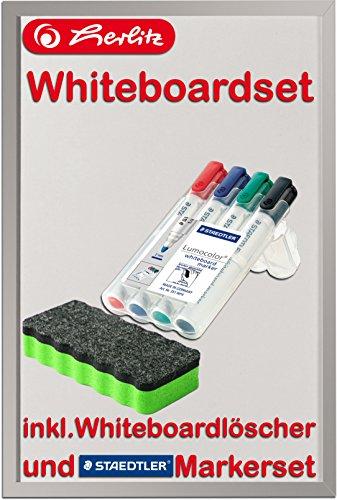 Herlitz 10524627 Whiteboard und Magnettafel, 40 x 60cm / Kombi-Set (+ Marker & Löscher, grün)