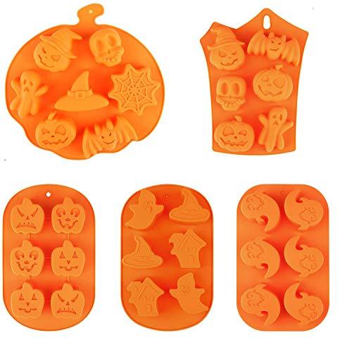 5 piezas de moldes de silicona para hornear de Halloween calabaza fantasma murciélago calavera fantasma moldes de silicona para dulces en forma