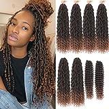 8 Packs Boho Goddess Locs Crochet Hair 22in Omber River Faux Locs Crochet Hair Faix Locs Crochet with Curly Ends River Curls Crochet Hair (22inch T1B/30#)