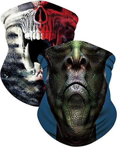 Hisports Cooling Neck Gaiter Printed Face Cover Mask 2 Pack for Men, Sports Balaclava Cool Bandana Sun Protection UV 50+ (Green Alien & Skull)