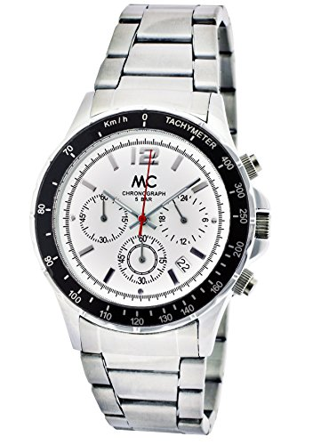 MC time Trend orologio da polso cronografo al quarzo da uomo in metallo Band 27647