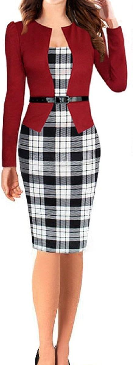 C.X Trendy Women Long Sleeve Wear to Work Office Party Bodycon Pencil Dress